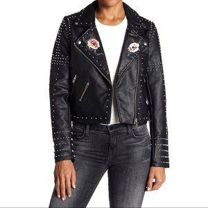 Blank NYC studded rose design moto jacket small